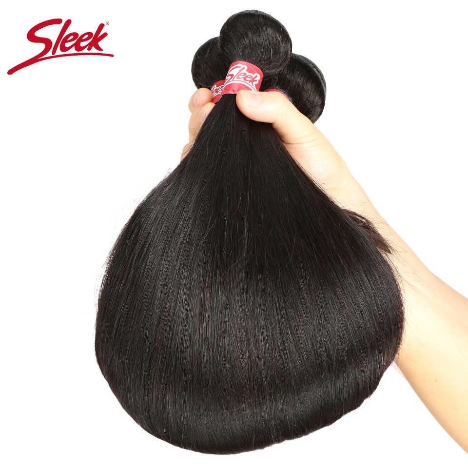 Sleek Braziliaanse Steil Haar Bundels Met Sluiting Natuurlijke Kleur Haar Weave 8-28 30 Non-Remy Human Hair 3 Bundels Met Sluiting
