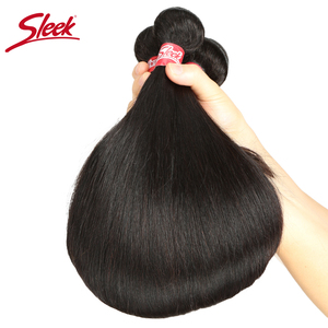 Image 5 - Sleek Brazilian Straight Hair Bundles With Closure Natural Color Hair Weave 8 28 30 Non Remy Human Hair 3 Bundles With Closure