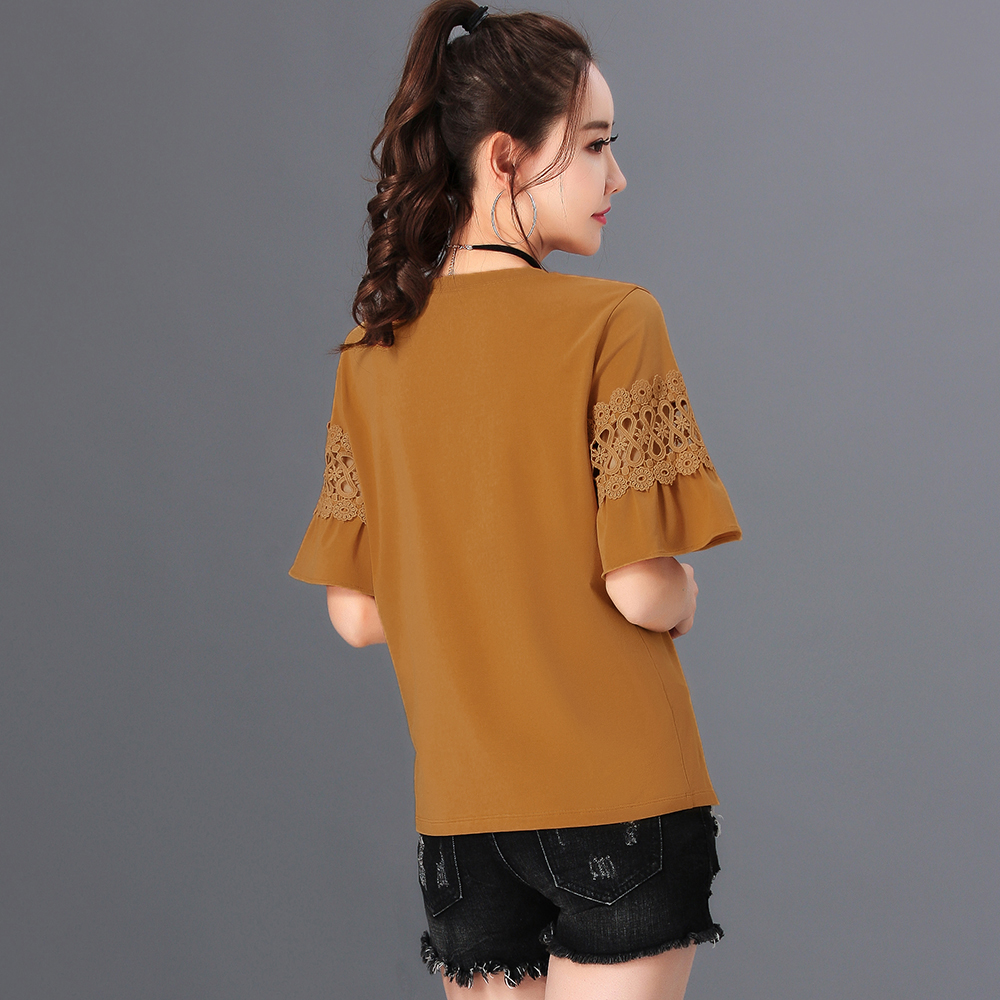 2020 Summer New Stitching Short-Sleeved T-shirt Women's Loose Round Neck Bottoming Shirt Women's T-shirt Tops Wholesale AE0024