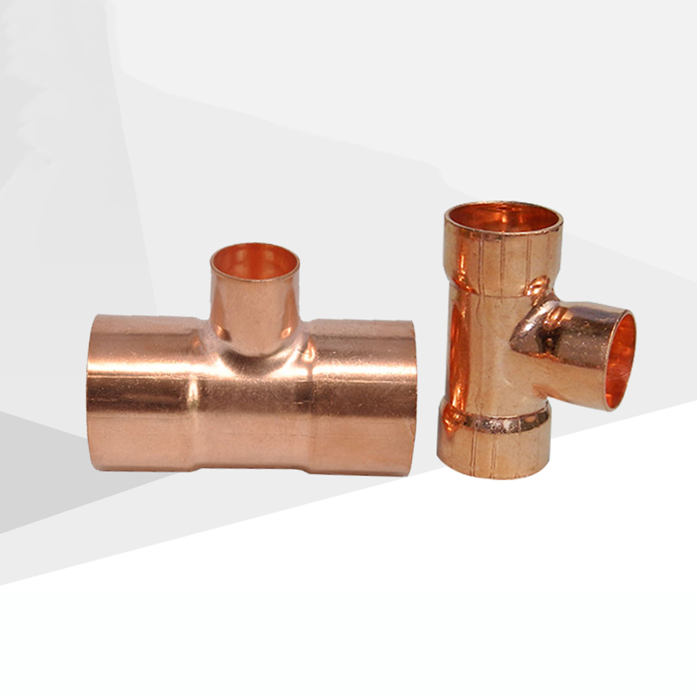 19 22 28mm To 6.35 10 12.7 15 16mm ID 99.9% Copper End Feed Solder Reducing Tee 3 Ways Plumbing Fitting For Air Condition