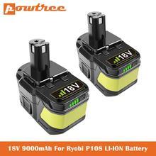Сменный аккумулятор для Ryobi P104 P105 P102 P103 P107 P109 P108 P100 RB18L26, литий-ионная аккумуляторная батарея L70, 18 в, 9,0 Ач