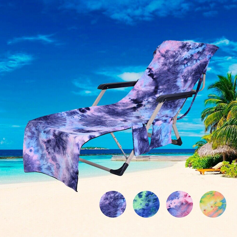 Lounge Chair Cover Bath Portable Pool Foldable Sun Bag Pocket Tie Dyeing Outdoor Microfiber Patio Beach Towels