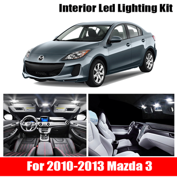 цена на 9x Canbus Error Free LED Interior Light Kit Package for 2010-2013 Mazda 3 Sedaan or Hatchback Car Accessories Map Dome Light