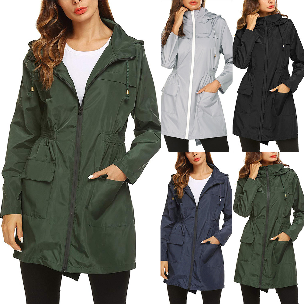 Women Lightweight Raincoat Female Waterproof Packable Hooded Outdoor Hiking Jacket Long Rain Jacket Active Rainwear Windproof Innrech Market.com