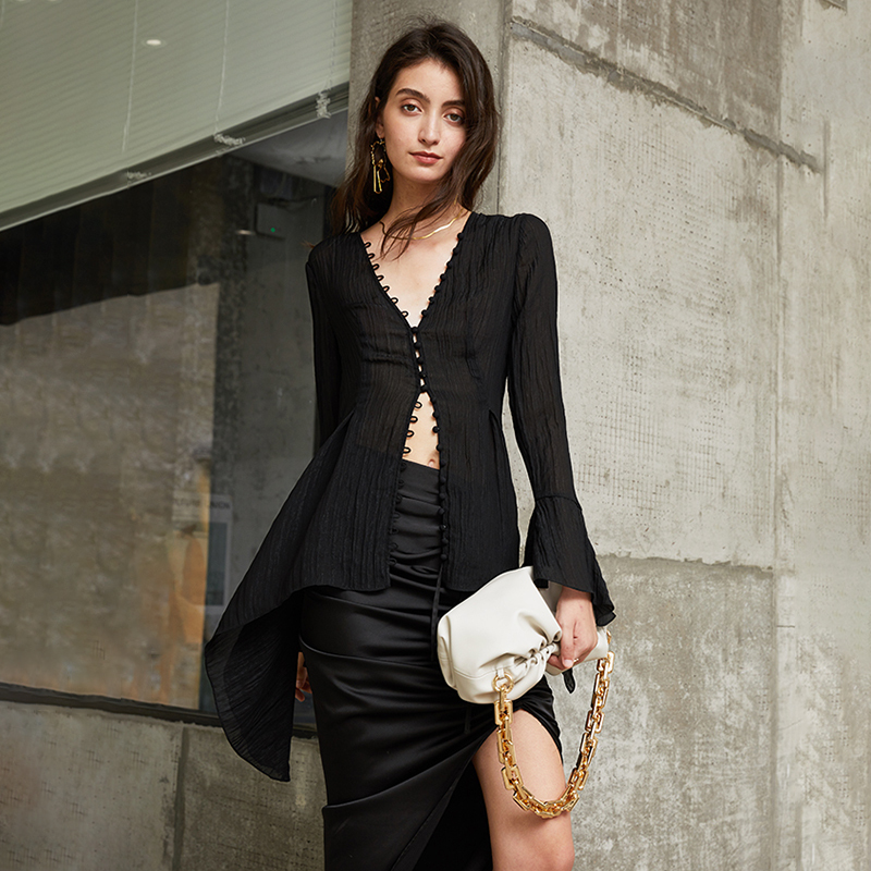 Sexy Black See Through Shirt For Women Women Women's Blouses Women's Clothings