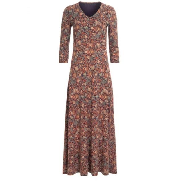 lovely casual long dress, pockets and v neckline 5