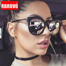 RBROVO 2019 Vintage Round Sunglasses Women Brand Designer Shopping Glasses Large