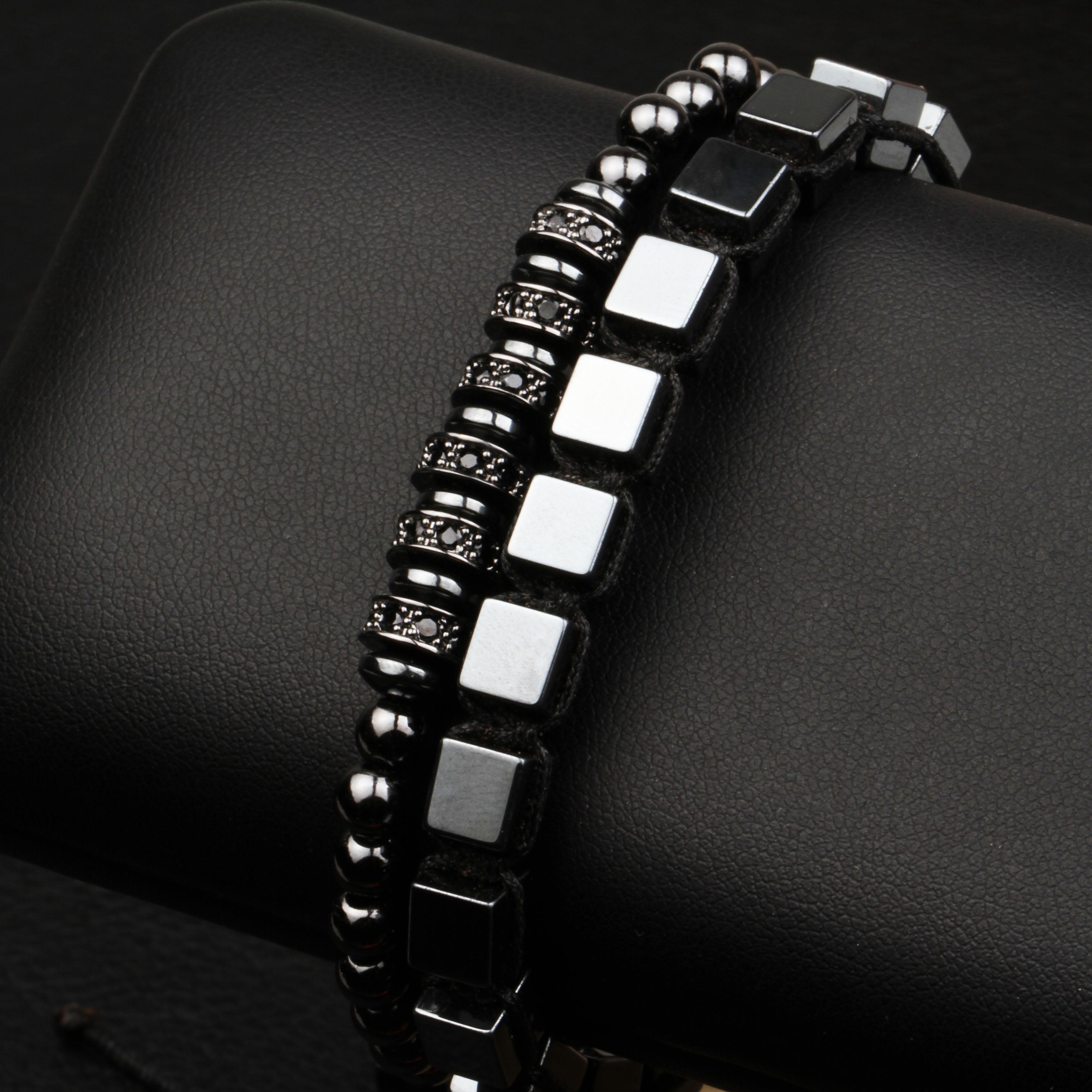 2Pcs New Classic Men Women Set Bracelet Fashion Square Hematite Wave Bangle And Micro Setting Accessories For Top Grade Jewelry