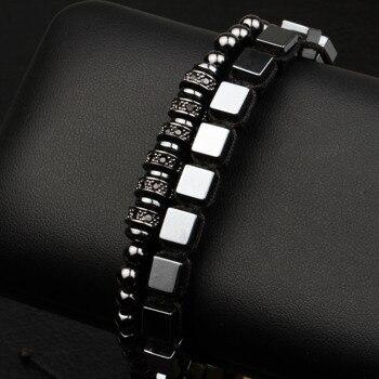 Conjunto de pulsera cl sica para hombre y mujer brazalete ondulado cuadrado de hematita accesorios