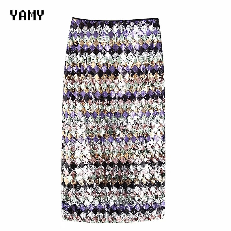 High Waist Womens Sequined Midi Skirt Colorful Blingbling Female Bodycon Party Skirt Faldas Elegant Ladies Chic Slim Za Skirt