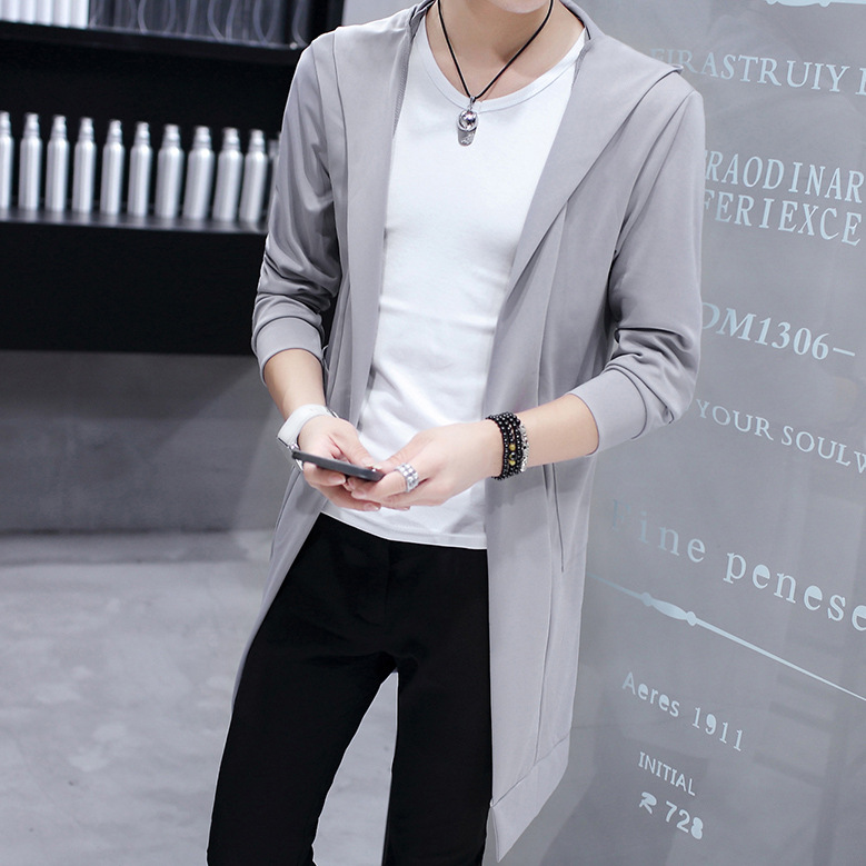 Super Fire Trench Coat Men Spring And Autumn Korean-style Fashion Man Mid-length On Clothes Slim Fit Students Handsome Mantle ME