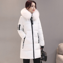 KMVEXO 2019 Winter Women Basic Jacket Hooded Thick Warm Medium Long Down Cotton Coat Fashion Long Sleeve Slim Big Yards Parkas цены онлайн