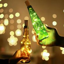 LED Garland Holiday Wine Bottle Fairy Lights with Cork Copper Wire String Lights for New Year Party Wedding Home Decoration