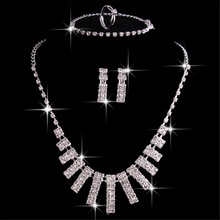 Classic Elegant Crystal Jewelry Set for Women Necklace Drop Earrings Ring Bracelets Bridal Jewelry Gifts Wedding Accessories(China)