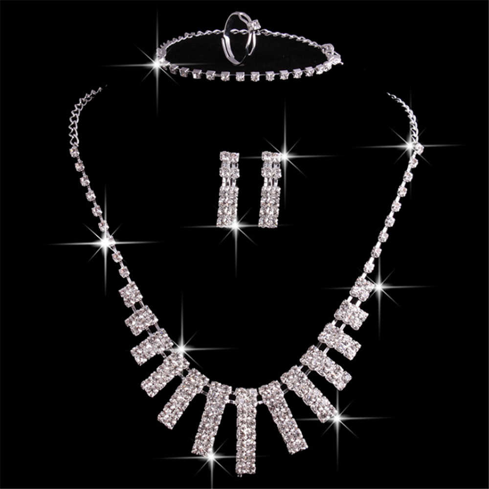 Classic Elegant Crystal Jewelry Set for Women Necklace Drop Earrings Ring Bracelets Bridal Jewelry Gifts Wedding Accessories