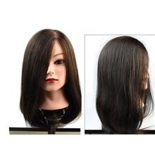 100% Human Hair Mannequin Head Training Head Cosmetology Manikin Head Doll Head In Mannequins for hairdressers head