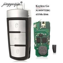 Jingyuqin 3C0959752BG /BA Smart sans clé aller télécommande voiture clé Fob 3 bouton 434MHz PCF7936 ID46 pour VW Passat CC Passat Magotan