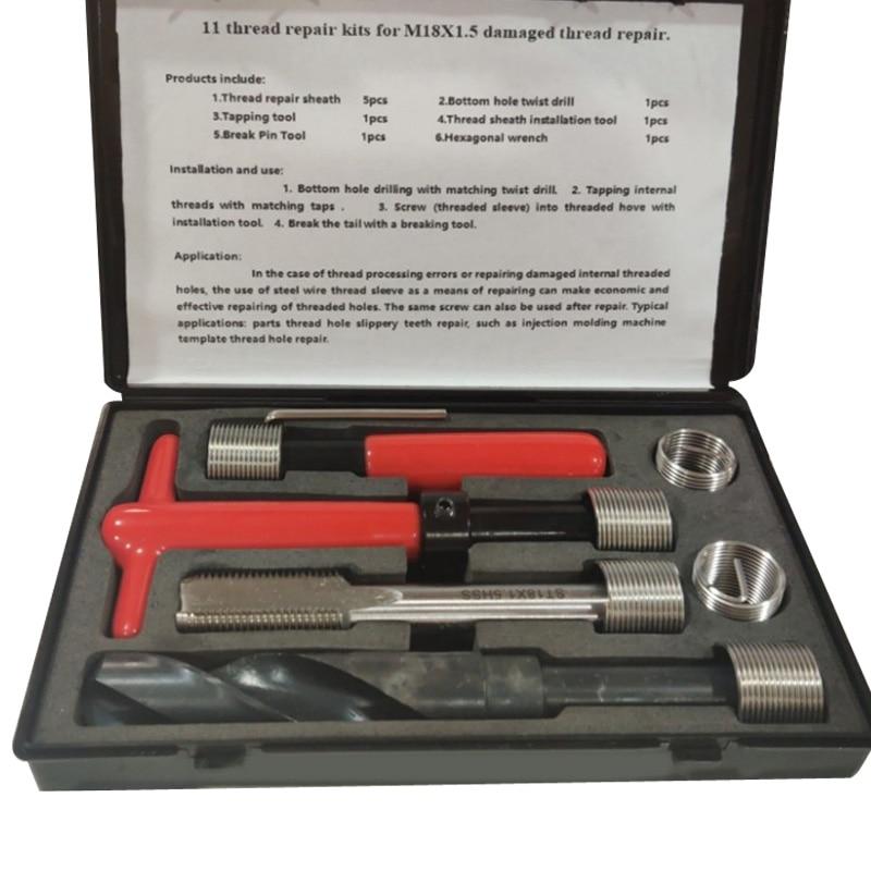 11pc Oil Pan Thread Repair Kit Sump Gearbox Drain Plug Tool Set M18 * 1.5