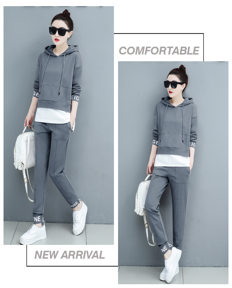 Autumn Sport Two Piece Sets Tracksuits Outfits Women Plus Size Hooded Sweatshirts And Pants Korean Casual Fashion Matching Sets 55