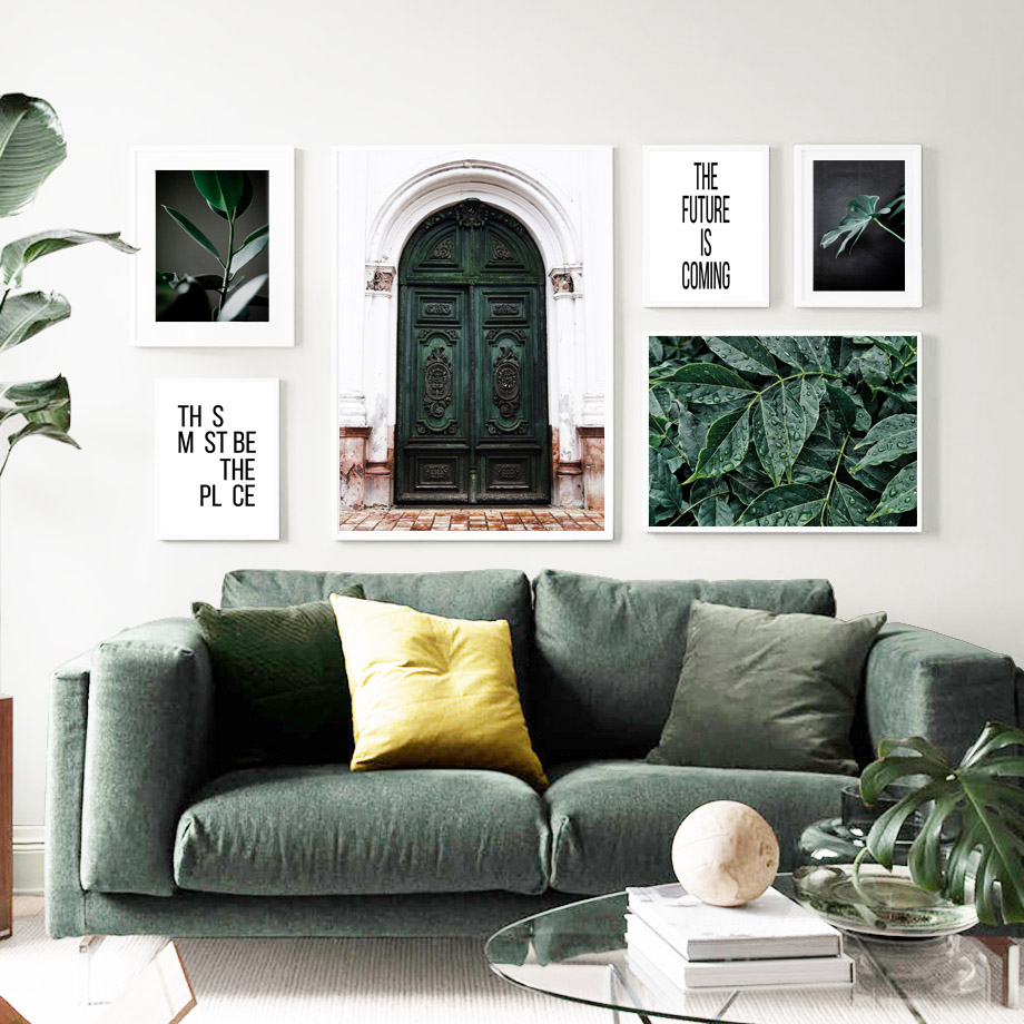 Vintage Green East Gate Plants Leaves Wall Art Canvas Painting Nordic Posters And Prints Salon Wall Pictures For Living Room