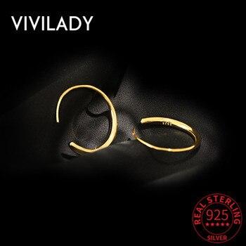 VIVILADY, pendientes de plata de ley 100% de estilo minimalista, redondos, aretes de mujer, circulo en forma de C a la moda, Chamring femenino, joyería fina