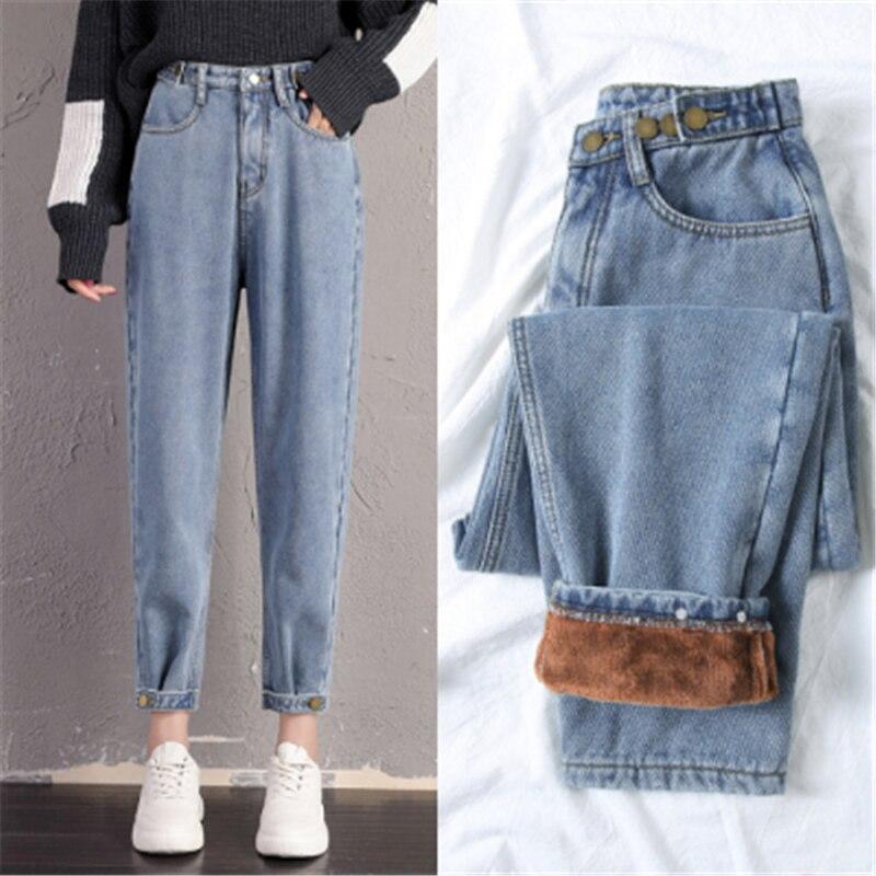 Women Fleece Jeans 2019 Winter Fashion Warm Thickening Denim Straight Pants Loose Solid Jean Pants New Sexy Streetpants P9229