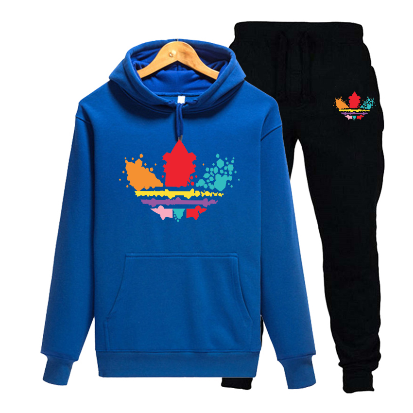 Autumn and winter new men's suit sportswear 2-piece hoodie + pants jogging fitness sportswear pullover track suit sweater set