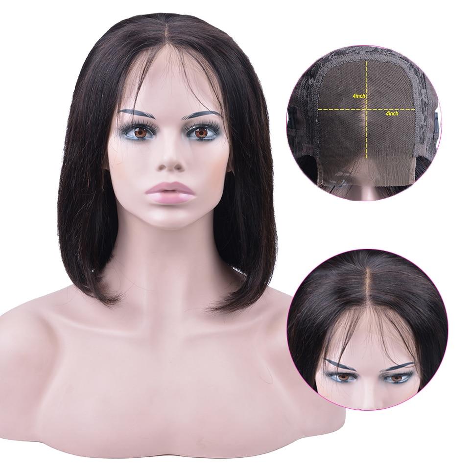 4x4 Short Lace Closure Human Hair Wigs For Women OYM Brazilian Straight Remy Bob Wig Lace