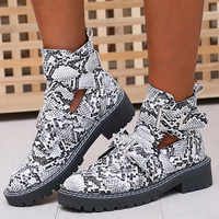 Winter Women Sexy Ankle Boots Snake Leather Platform Square Heel Rivet Buckle Straps Punk Zipper Black Biker zapatos de mujer