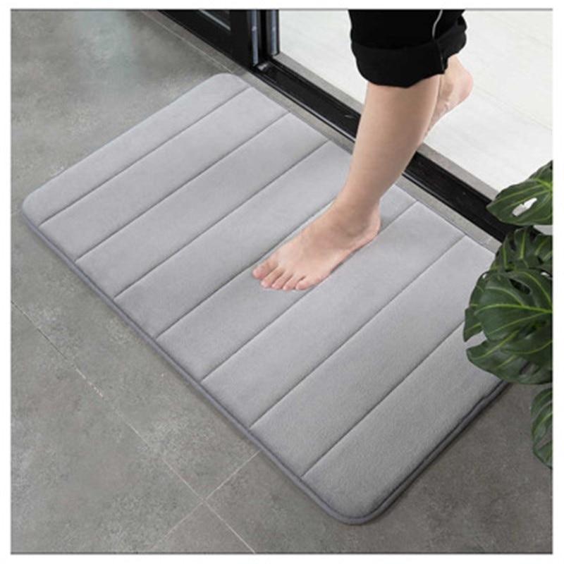 New Coral Fleece Memory Foam Slow Rebound Into The Door Carpet Floor Mats Kitchen and Bathroom Absorbent Door Pads Practical