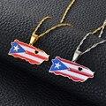 Anniyo/Сердце карта Пуэрто-Рико и цвет кулон в форме флага ожерелья золотого/серебряного цвета PR Пуэрториканские Ювелирные изделия Подарки #...