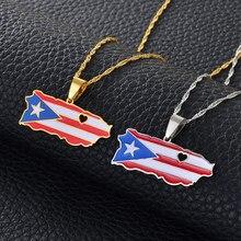 Corazón Anniyo Puerto Rico mapa y Color colgante con diseño de bandera collares Color oro/plata Color PR puertorriqueños joyería regalos #165521
