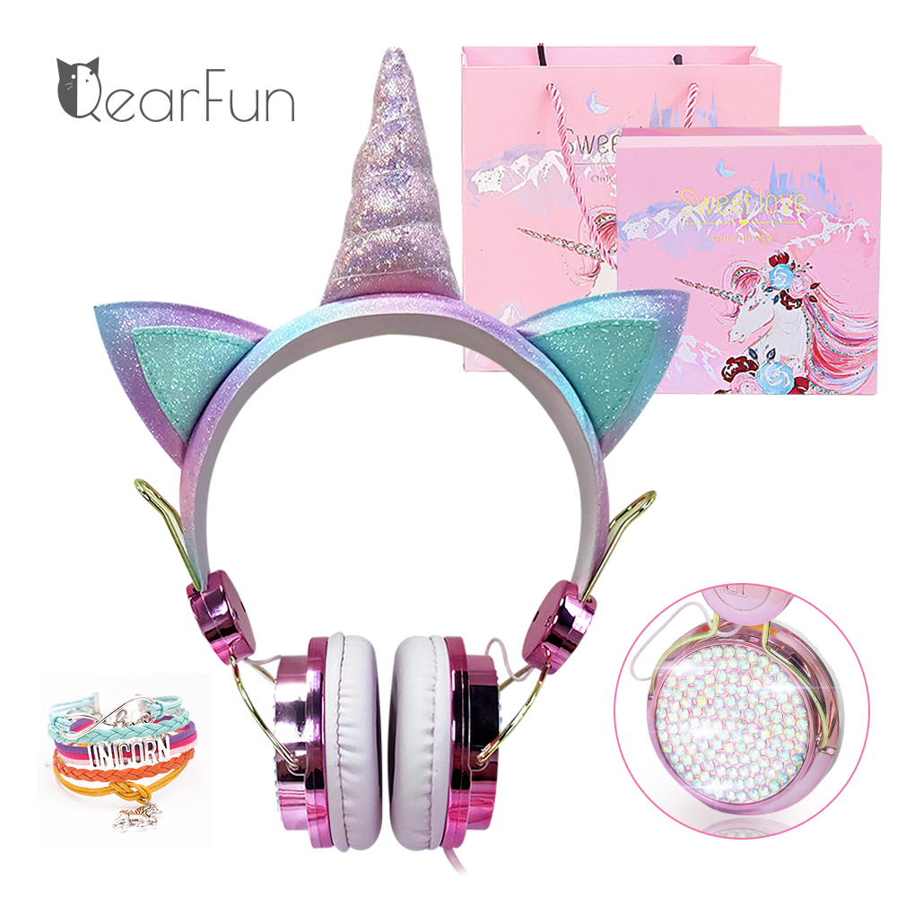 Cute Unicorn Wired Headphone With Microphone Girls Daugther Music Stereo Earphone Computer Mobile Phone Headset Kid Gift, or box 1