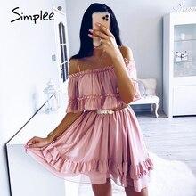 Simplee elegancka, z falbanami off shoulder women ramiączko Spaghetti do sukienki szyfonowe, letnie sukienki Casual holiday kobieta różowa krótka sukienka letnia