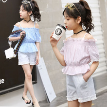 3-14 Years Old Teen Girls  Wear China Boutique Clothing 2Pcs Sets Off-shoulder Tops + Short Pants