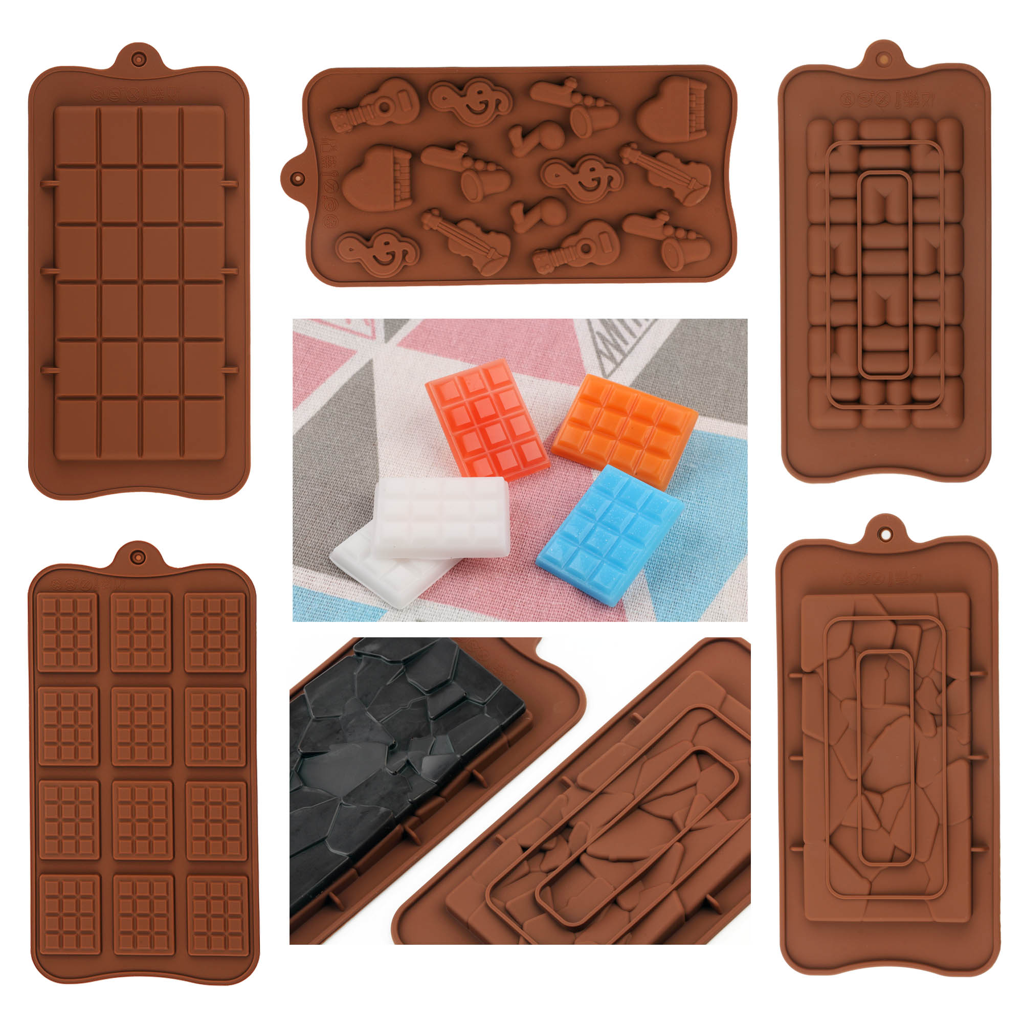 New Silicone Chocolate Bar Candy Mold Baking Molds for Chocolate Bar Party Cake Decoratio Candy Jelly Diy Kitchen Gadgets