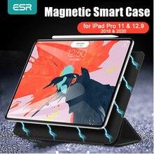 Esr capa inteligente magnética para ipad, para ipad pro 11, 12.9, 2020, 2018, capa tripla com suporte magnético, capa magnética para ipad pro 2020 12.9 caso funda
