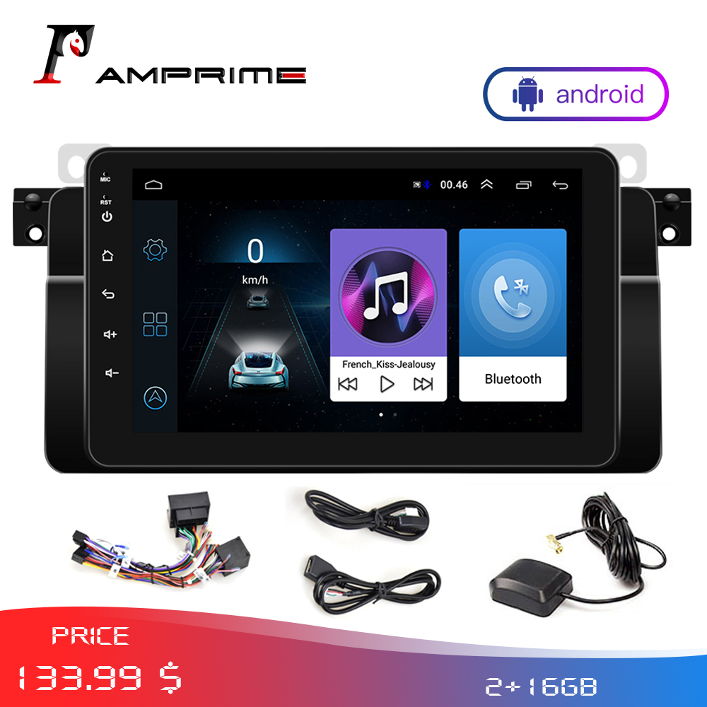 AMPrime Autoradio Stereo <font><b>Android</b></font> 2Din Car Multimedia player GPS WIFi For BMW/E46/ FM Mirrorlink Radio With Rear camera Monitor image