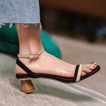 New Sheep Suede Womens Shoes Casual Buckle Strap Shoes for Women Sandals Thick Heel Ankle-Wrap Handmade Fashion Summer Shoes