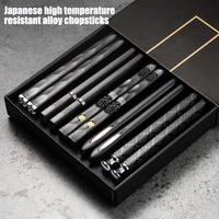 5 pares chino japoneses palillos para comer Metal reutilizable coreano palillos chinos de cocina de acero inoxidable de aleación de palitos de Sushi