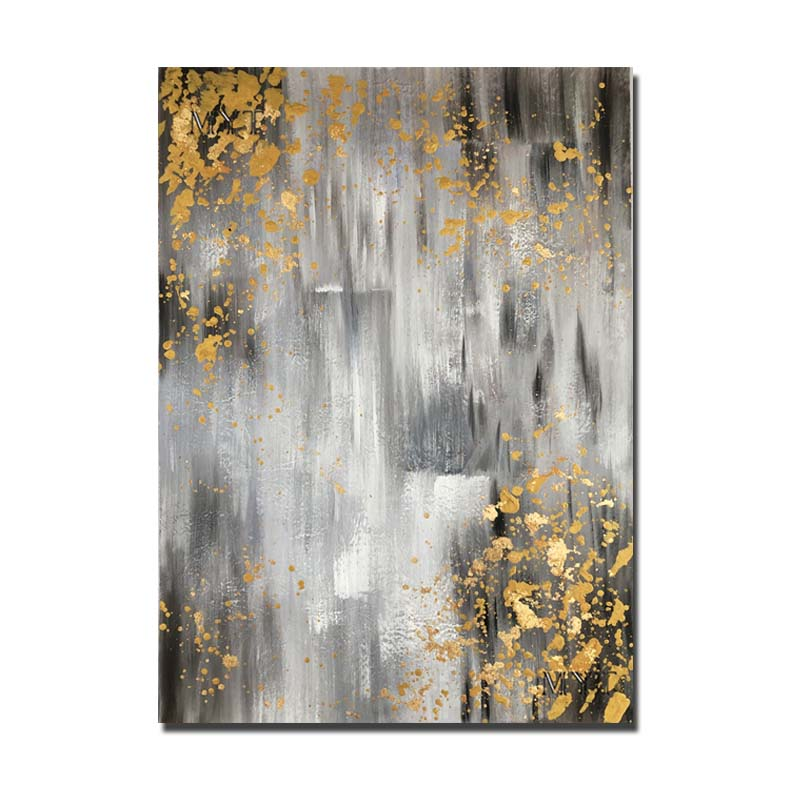 Hand Painted Modern Abstract Grey Gold Foil Wall Art Oil Painting On Canvas Wall Pictures Living Room Home Decor Drop Shipping