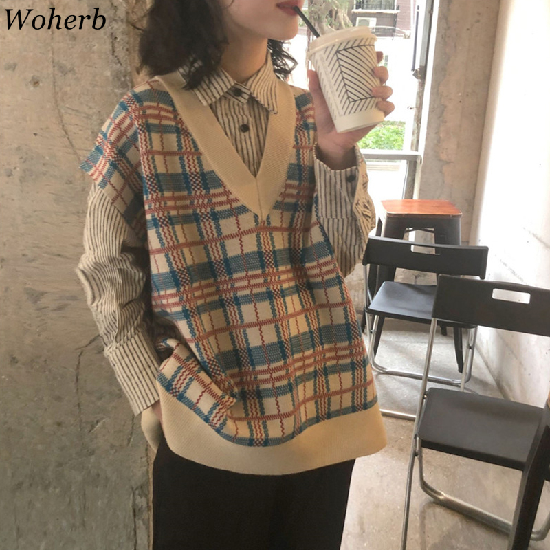 Woherb 2020 Autumn Vintage Plaid Sweater Vest Women Sleeveless V-neck Knitted Waistcoat Female Casual  Harajuku Korean Clothes