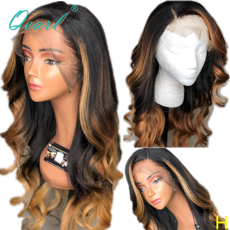 Ombre Human Hair Wigs 13x6 Lace Front Wig Deep Side Parting Blonde Highlights Pre Plucked With Baby Hair Wavy Remy Hair Qearl