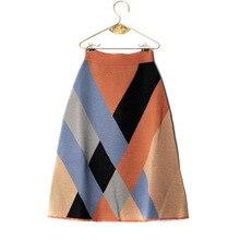 Girls Knitting Patchwork Color Skirt Kids Fashion High grade Girls Long Skirts Children Clothes 0.8kg#39