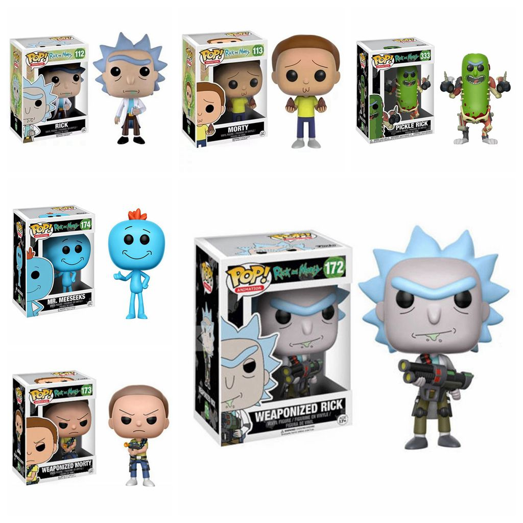 Pop Rick And Morty 10cm PVC Action Figure Weaponized Rick And Morty Pickle Rick With Laser MR. Meeseeks Collectible Model Toys