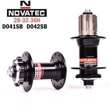 цена на New Novatec MTB hub D041SB D042SB Disc Card Brake Mountain Bike hubs Bearing Bicycle Hub 8/9/10/11speed 28 32 36 Holes red black