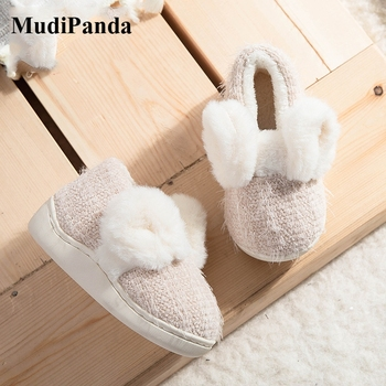 MudiPanda Toddler Slippers For Girls Boys 1-3 Years Old 2020 Winter Plus Velvet Warm Non-Slip Soft Bottom Cute Rabbit Baby Shoes 2018 winter plus cotton girls princess shoes genuine leather soft bottom for children 0 1 years old female baby toddler shoes