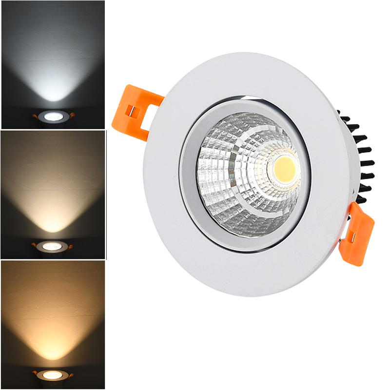 White Silver LED COB Spotlight Ceiling Lamp AC85-265V 3W 5W 7W 10W 12W 15W Aluminum Recessed Downlights Round Led Panel Light