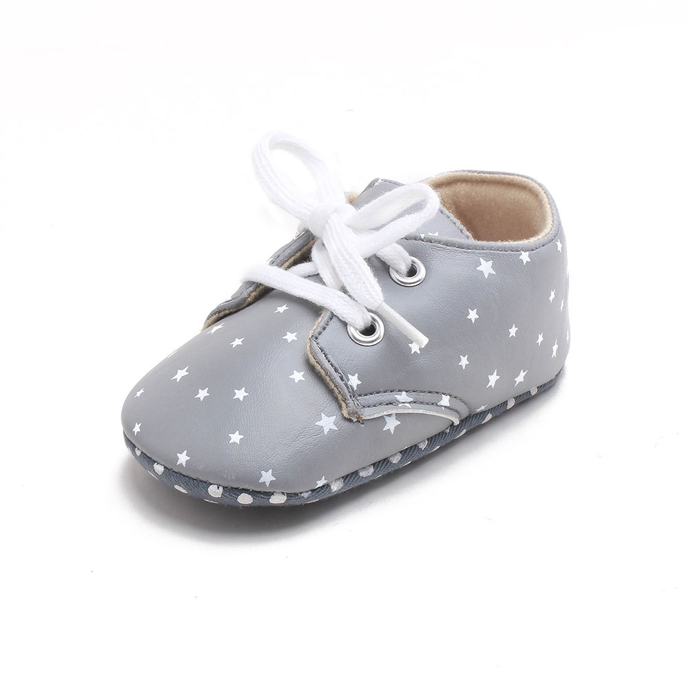 Delebao Classic Design Style Newborn Baby Shoes Grey Stars Design Pu First Walkers For