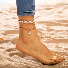 Bohemian fashion shell ladies anklet bracelet summer beach wind woven shell pendant anklet sandals barefoot jewelry цена 2017